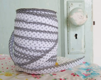 Gray on White Polka Dot Double Fold Crochet Edge Bias Tape (No. 213)
