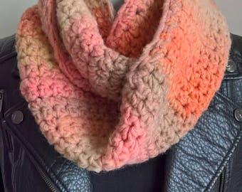 Hand Crocheted Snood, Beige, Cream, Orange, Pink, One size
