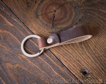 Key fob & keyring, keychain, Horween Chromexcel - brown/silver