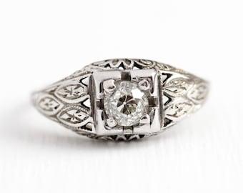 Antique Engagement Ring - 18k White Gold Art Deco .42 CT Diamond Ring - 1920s Size 5 1/2 Vintage Flower Filigree Fine Jewelry , w/ Appraisal