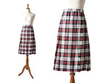 Plaid skirt, wool skirt, red plaid skirt, vintage skirt, schoolgirl skirt, vintage plaid skirts, tartan skirt, womens skirt vintage clothing