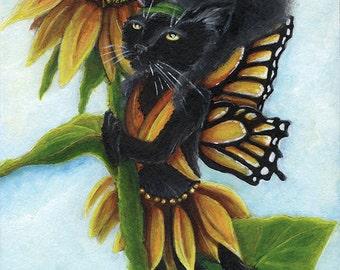 Black Cat Art, Sunflower Butterfly Fairy Cat 5x7 Fantasy Fine Art Print