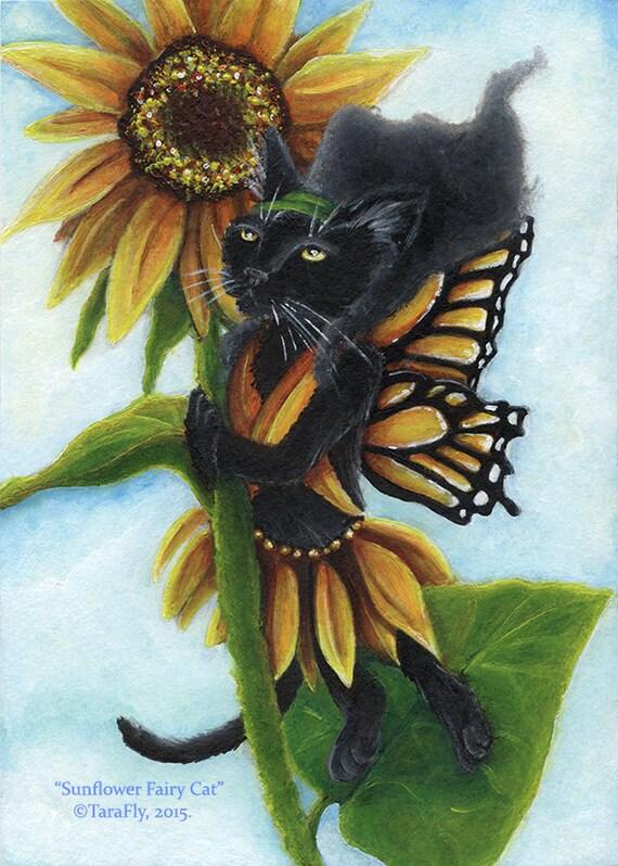 Sunflower Fairy Cat 5x7 Fine Art Print