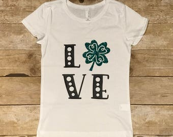 LOVE Shamrock Youth Girls' Princess T-Shirt