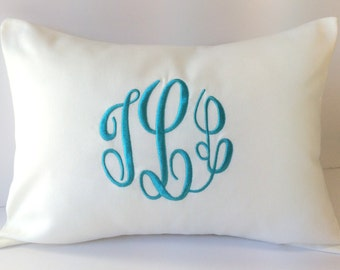 Custom Monogrammed Pillow Cover made to fit a 12 x 16 Decorative Throw PIllow. Wedding Gift. 2nd Anniversary Gift. Personalized Baby Gift