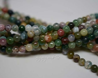 4MM, Indian Agate, Round Beads, Natural Stone Beads, 1 Strand (Approx 95-102 Beads)