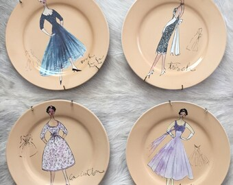 """Vintage 8"""" Rosanna 50's style dresses on plates with wall hanging springs attached / 4 piece set"""