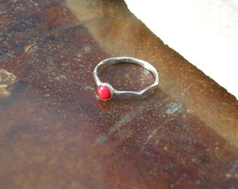 Hammered Sterling Silver Stackable Ring with Red Coral