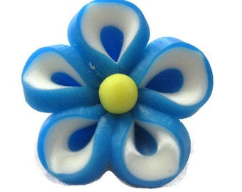 Tropical Blue Polymer Clay Flowers 20mm Beads Set of 4 (H03)