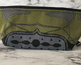 Women's zipper clutch purse with removable wrist strap, upholstery fabric purse, zipper purse, zipper pouch