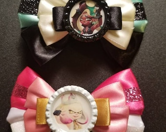 Marina and Pearl Splatoon inspired hair bow