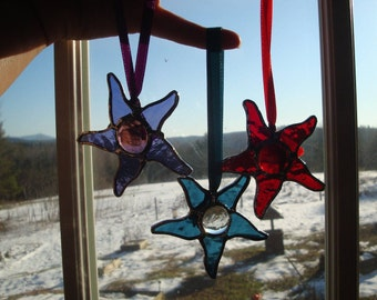 3 inch star with center glass drop