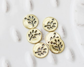 Set of 10, Tree Branch Charm, Hollow Tree Charm, Round Gold Charm, Small Gold Charm, Small Charm, Gold Charm, Tree Charm, Nature Charm,