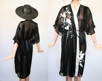 Victoria's Secret Robe 80s Kimono Bed Jacket Lingerie 1990s Black Floral Sheer Nightgown Boudoir 1990s Lounge 90s Sleepwear Dressing Gown