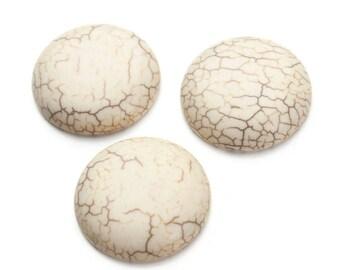 Crackle 13 mm white turquoise semi precious stone cabochon