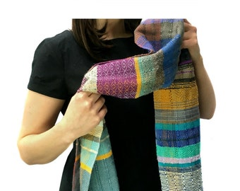 Geneva | Woven Heirloom Multicolor Scarf with Violet | Handwoven OOAK Striped Scarf | Unisex Fashion Accessories | Ladies Woven Gifts | J11