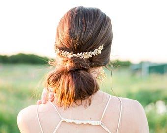 Gold leaves crown, Gold bridal hair vine, Bridal leaves head piece, Bridal tiara, Grecian crown, Woodland, Gold bridal, Gold floral crown
