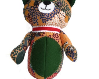 Kitten Softie Kittie Cat Art Doll Orange Blue Green Red & White with Dark Green Accents and Red Collar OOAK