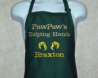 PawPaw Apron, Helping Hands, Grandpa, Poppy, Papa, Pops, Opa, Personalized With Kids Names, No Shipping Fee, Ready To Ship TODAY AGFT 781