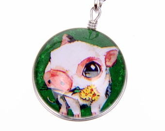 Little pig Necklace, Double sided cabochon