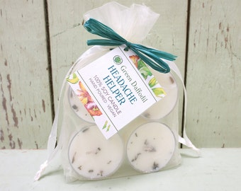 Headache Helper Soy Tealights 4 Pack - Green Daffodil - Handpoured - Siouxsan and Anne