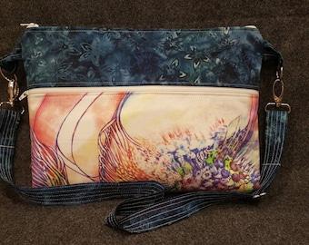 Handcrafted Purse/Artist Bag/Shoulder Bag/Gift under 50/Judi Cain/New Day