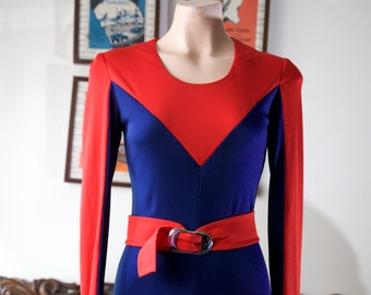 Bold 1970s red and navy maxi dress
