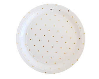 Gold Party Plates Gold Polka Dot Paper Plates Gold Plates Disposable Paper Plates Gold Party Supplies Gold Party Decorations Plates