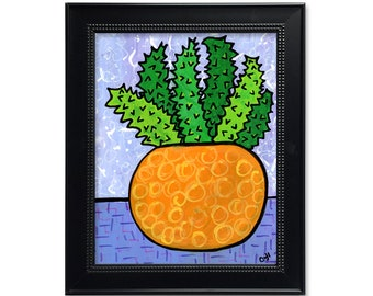 Succulent Print - Botanical Art Print - Yellow Purple Green Wall Art Decor - 5x7 8x10 11x14 with optional black mat