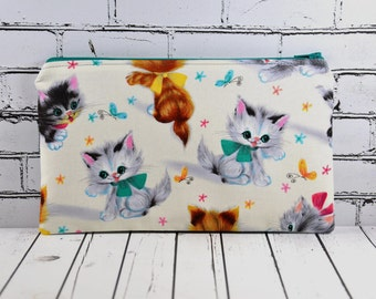 Cute Cat Pencil Case, Kitsch Cat Zip Pouch
