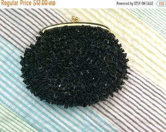 Vintage black beaded coin change purse