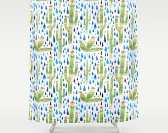 Watercolor Cactus Shower Curtain - watercolor cactus print shower curtain in green, pink, turquoise, with blue raindrops