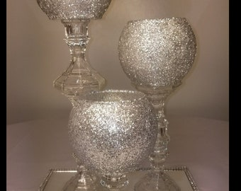 Wedding Centerpiece , Dining Table,3 Candle Holder,1 Mirror