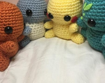 Pokemon Pocket Monsters Stuffies Amigurumi Charmander Squirtle Pikachu Bulbasaur
