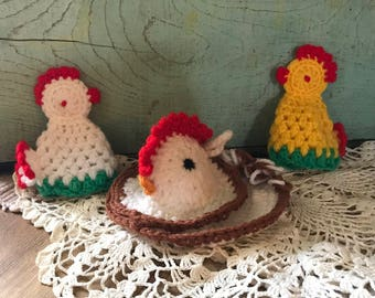 Handmade, Crocheted Chickens