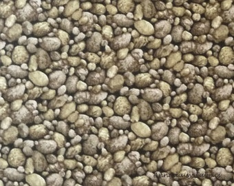 Pebbles Fabric, Moda 15622 12 Modascapes Pebbles Taupe, River Rocks Landscape Fabric, Stones, Gravel Fabric, Landscape Quilt Fabric, Cotton