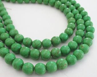"Green Howlite Round Beads - Green Gemstone Beads - Brown Matrix - 16"" Strand - 8mm - Center Drilled - DIY Unisex Spring Jewelry Making"