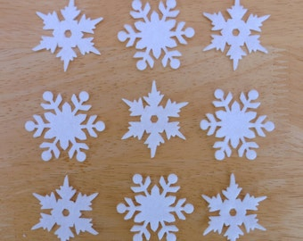 Snowflake Set #9, 10 x Iron on Felt snowflakes appliques (5 each of 2 designs), Made to order, choose your colours, Christmas ships from UK