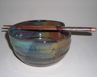 Spring green and rusty nail rice bowl with FREE  SHIPPING