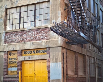 Chicago City Urban Yellow Factory Industrial Decor Architecture Street Photography Photo Art Print 8x10