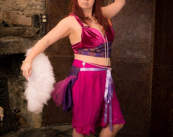 Belly dancing, tribal fusion costume, Pink velvet & purple brocade crop top. Circus, burlesque. Bohemian carnival or festival clothing