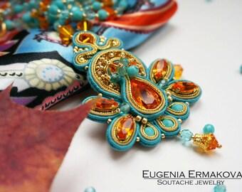 Soutache pendant with Swarovski Soutache necklace Soutache jewelry Large pendant soutache Turquoise blue tangerine orange gold pendant
