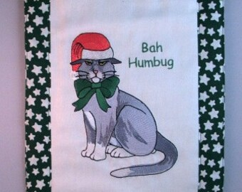 "Wall hanging, Wall Art, Embroidered Grey cat - ""Bah Humbug"", READY TO SHIP"