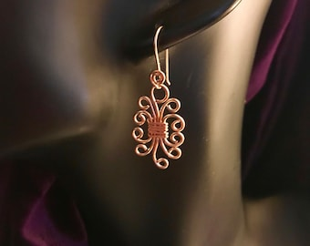 Earrings, Rose Gold fill jewelry, fancy earrings, wire work earrings,  Rose gold