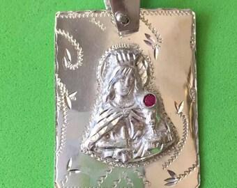 Santa Barbara silver medal religious charm