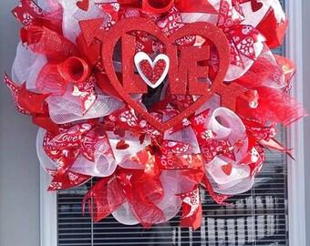 Happy Valentines Day, Red & White Valentines Day Wreath, Red Love Wreath,