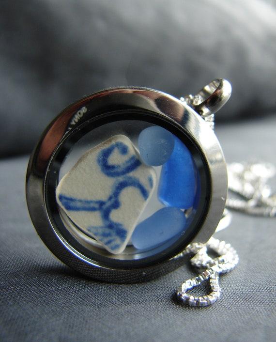 Porthole sea glass and sea pottery locket in blues