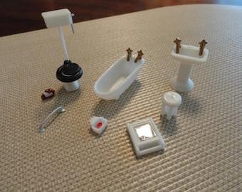 "D178)  Vintage Miniature tiny Doll House Bathroom 1/4"" scale"