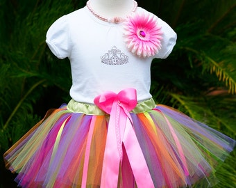 1st Birthday Girl Outfit, One Year Old Girl Birthday Outfit, Hawaiian Princess Crown Birthday Outfit, Hawaiian Birthday Tutu Set, 1 year old