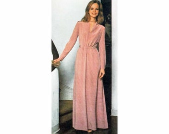 1970s Vintage Sewing Pattern Simplicity 8662 Plus Size Dress Slash Neck Maxi Dress or Gown - Sizes 18 20 Bust 40 42 UNCUT